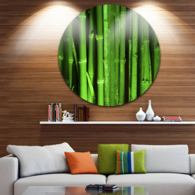 Design Art Green Bamboo Forest Floral Round CircleMetal Wall Art