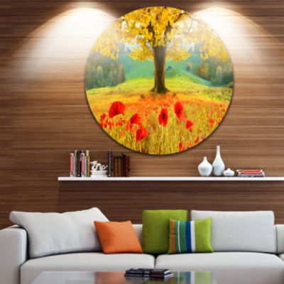Design Art Beautiful Autumn Yellow Tree Floral Round Circle Metal Wall Art