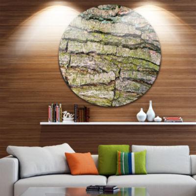 Design Art Thick Tree Skin Close Up Floral Round Circle Metal Wall Art