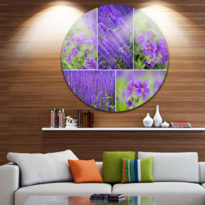 Design Art Blue Spring Flowers Collage Floral Round Circle Metal Wall Art