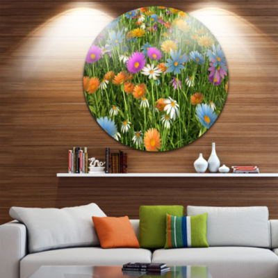 Design Art Different Color Flowers in Field FloralRound Circle Metal Wall Art