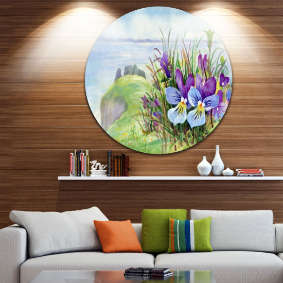 Design Art Spring Violet Flowers on Mountain Floral Round Circle Metal Wall Art