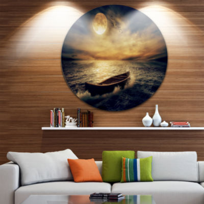 Design Art Middle of Ocean after Storm Floral Round Circle Metal Wall Art