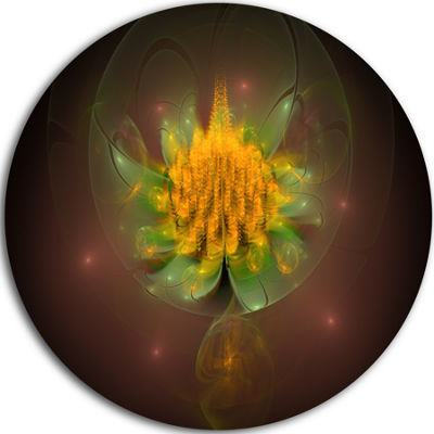 Design Art Fractal Yellow Flower on Black Floral Round Circle Metal Wall Art