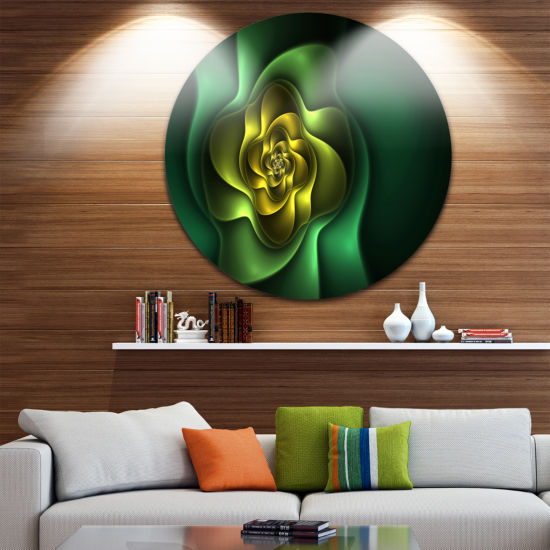 Design Art Fractal Green Flower on Black Floral Round Circle Metal Wall Art