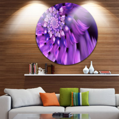 Design Art Blue Flower Shaped Fractal Art Floral Round Circle Metal Wall Art