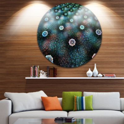 Design Art Blue Flowers on Alien Planet Floral Round Circle Metal Wall Art