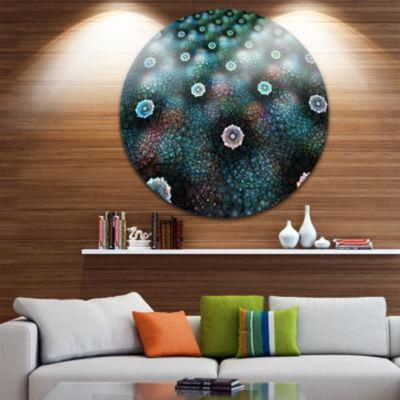 Design Art Blue Flowers on Alien Planet Floral Round Circle Metal Wall Art