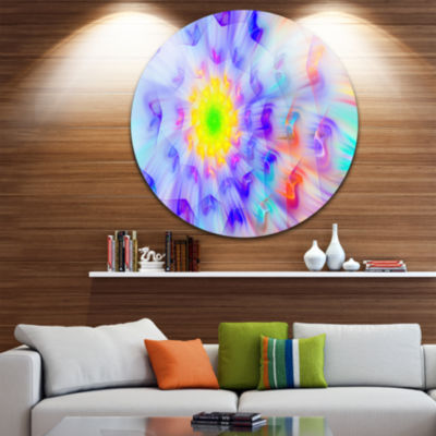 Design Art Large Yellow Alien Fractal Flower Floral Round Circle Metal Wall Art