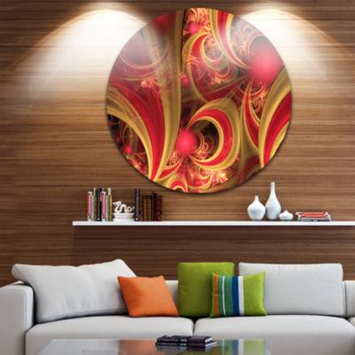 Design Art Pink Symmetrical Fractal Pattern FloralRound Circle Metal Wall Art