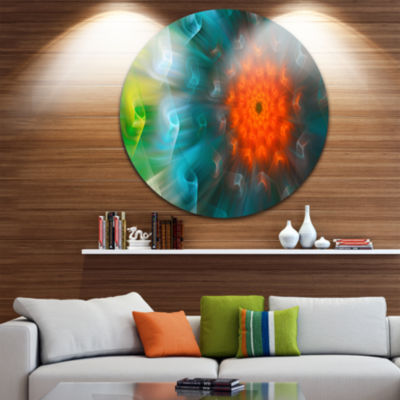 Design Art Multi Color Fractal Petals Dandelion Floral Round Circle Metal Wall Art