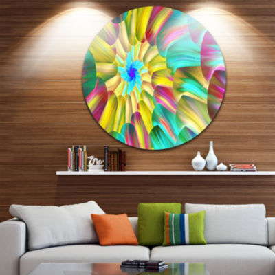 Design Art Multi Color Stained Glass Spirals Floral Round Circle Metal Wall Art