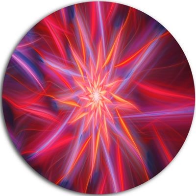 Design Art Shining Red Purple Exotic Flower FloralRound Circle Metal Wall Art