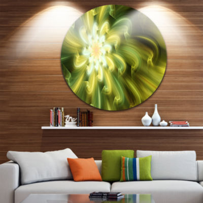 Design Art Dance of Yellow Fractal Petals Floral Round Circle Metal Wall Art