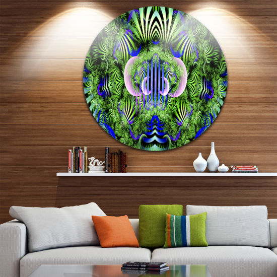 Design Art Green Magical Fairy Pattern Floral Round Circle Metal Wall Art