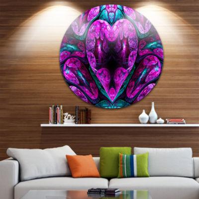 Design Art Purple Cold Mystical Heart Floral RoundCircle Metal Wall Art