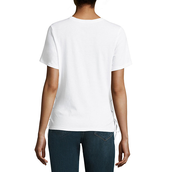 Peanuts Side Lace Up Tee - Juniors