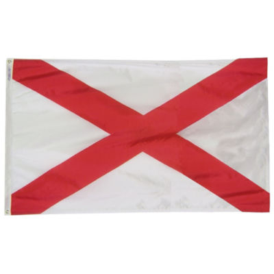 Alabama State Flag 3x5 ft. Nylon SolarGuard Nyl-Glo 100% Made in USA to Official State Design Specifications by Annin Flagmakers.  Model 140060