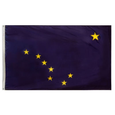 Alaska State Flag 3x5 ft. Nylon SolarGuard Nyl-Glo100% Made in USA to Official State Design Specifications by Annin Flagmakers.  Model 140165