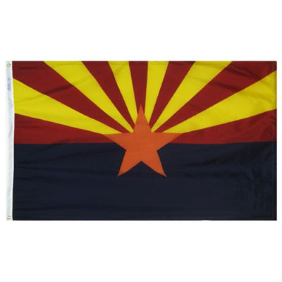Arizona State Flag 4x6 ft. Nylon SolarGuard Nyl-Glo 100% Made in USA to Official State Design Specifications by Annin Flagmakers.  Model 140270