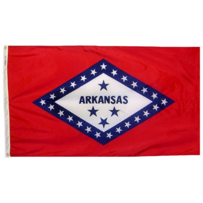 Arkansas State Flag 3x5 ft. Nylon SolarGuard Nyl-Glo 100% Made in USA to Official State Design Specifications by Annin Flagmakers.  Model 140360