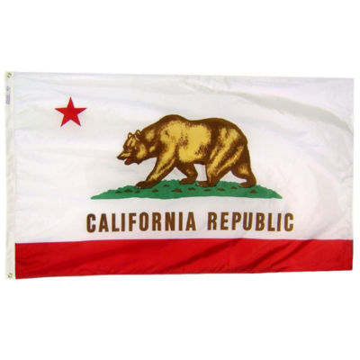 California State Flag 3x5 ft. Nylon SolarGuard Nyl-Glo 100% Made in USA to Official State Design Specifications by Annin Flagmakers.  Model 140460