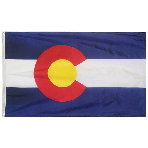 Colorado State Flag 5x8 ft. Nylon SolarGuard Nyl-Glo 100% Made in USA to Official State Design Specifications by Annin Flagmakers.  Model 140680