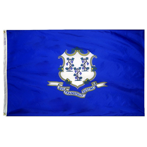Connecticut State Flag 4x6 ft. Nylon SolarGuard Nyl-Glo 100% Made in USA to Official State Design Specifications by Annin Flagmakers.  Model 140770