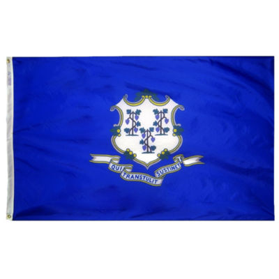 Connecticut State Flag 5x8 ft. Nylon SolarGuard Nyl-Glo 100% Made in USA to Official State Design Specifications by Annin Flagmakers.  Model 140780