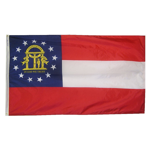 Georgia State Flag 3x5 ft. Nylon SolarGuard Nyl-Glo 100% Made in USA to Official State Design Specifications by Annin Flagmakers.  Model 141162