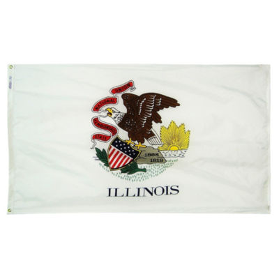 Illinois State Flag 4x6 ft. Nylon SolarGuard Nyl-Glo 100% Made in USA to Official State Design Specifications by Annin Flagmakers.  Model 141470