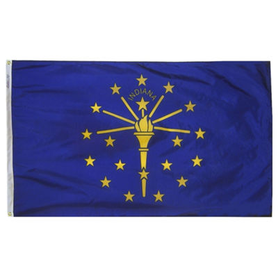Indiana State Flag 3x5 ft. Nylon SolarGuard Nyl-Glo 100% Made in USA to Official State Design Specifications by Annin Flagmakers.  Model 141660