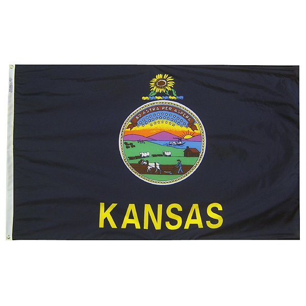 Kansas State Flag 4x6 ft. Nylon SolarGuard Nyl-Glo100% Made in USA to Official State Design Specifications by Annin Flagmakers.  Model 141870