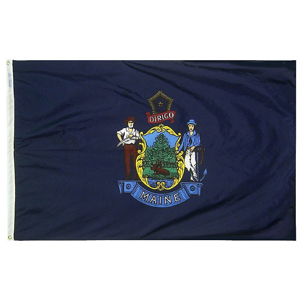 Maine State Flag 5x8 ft. Nylon SolarGuard Nyl-Glo100% Made in USA to Official State Design Specifications by Annin Flagmakers.  Model 142280