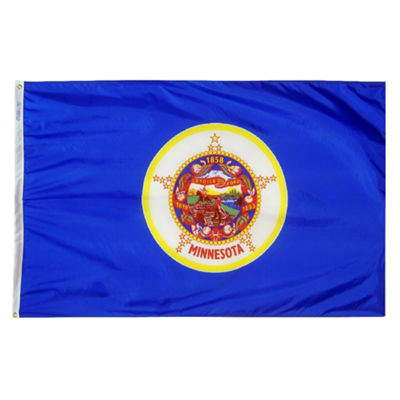 Minnesota State Flag 4x6 ft. Nylon SolarGuard Nyl-Glo 100% Made in USA to Official State Design Specifications by Annin Flagmakers.  Model 142770