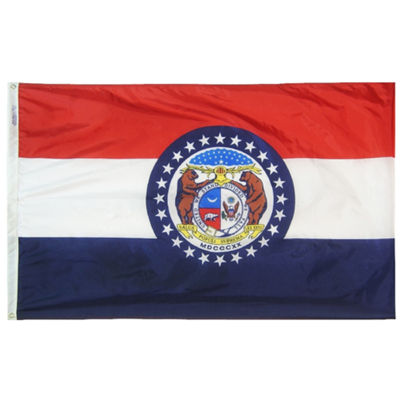 Missouri State Flag 3x5 ft. Nylon SolarGuard Nyl-Glo 100% Made in USA to Official State Design Specifications by Annin Flagmakers.  Model 142960