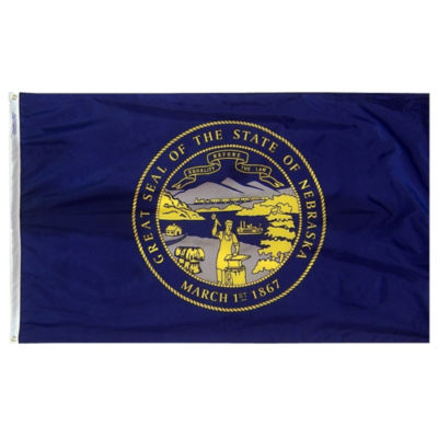 Nebraska State Flag 3x5 ft. Nylon SolarGuard Nyl-Glo 100% Made in USA to Official State Design Specifications by Annin Flagmakers.  Model 143260
