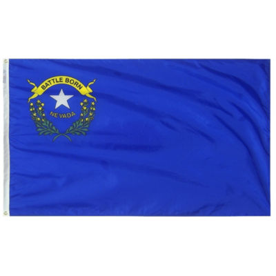 Nevada State Flag 4x6 ft. Nylon SolarGuard Nyl-Glo100% Made in USA to Official State Design Specifications by Annin Flagmakers.  Model 143370