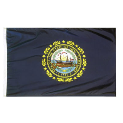 New Hampshire State Flag 3x5 ft. Nylon SolarGuardNyl-Glo 100% Made in USA to Official State DesignSpecifications by Annin Flagmakers.  Model 143460