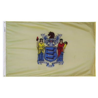New Jersey State Flag 4x6 ft. Nylon SolarGuard Nyl-Glo 100% Made in USA to Official State Design Specifications by Annin Flagmakers.  Model 143670