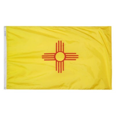 New Mexico State Flag 3x5 ft. Nylon SolarGuard Nyl-Glo 100% Made in USA to Official State Design Specifications by Annin Flagmakers.  Model 143760