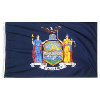 New York State Flag 4x6 ft. Nylon SolarGuard Nyl-Glo 100% Made in USA to Official State Design Specifications by Annin Flagmakers.  Model 143870