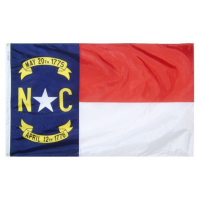 North Carolina State Flag 3x5 ft. Nylon SolarGuardNyl-Glo 100% Made in USA to Official State DesignSpecifications by Annin Flagmakers.  Model 143960