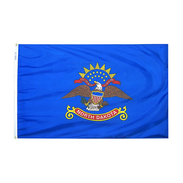 North Dakota State Flag 3x5 ft. Nylon SolarGuard Nyl-Glo 100% Made in USA to Official State Design Specifications by Annin Flagmakers.  Model 144160