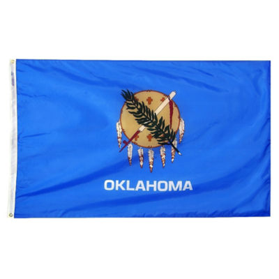 Oklahoma State Flag 5x8 ft. Nylon SolarGuard Nyl-Glo 100% Made in USA to Official State Design Specifications by Annin Flagmakers.  Model 144380