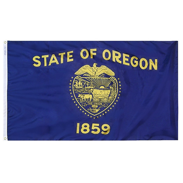 Oregon State Flag 5x8 ft. Nylon SolarGuard Nyl-Glo100% Made in USA to Official State Design Specifications by Annin Flagmakers.  Model 144480