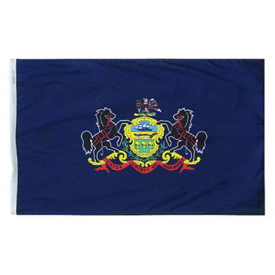 Pennsylvania State Flag 5x8 ft. Nylon SolarGuard Nyl-Glo 100% Made in USA to Official State Design Specifications by Annin Flagmakers.  Model 144680