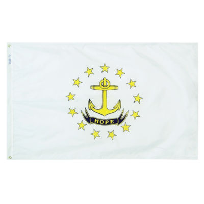 Rhode Island State Flag 3x5 ft. Nylon SolarGuard Nyl-Glo 100% Made in USA to Official State Design Specifications by Annin Flagmakers.  Model 144760