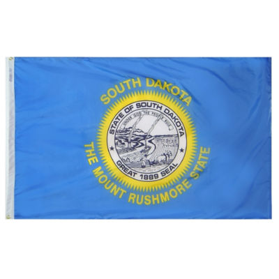 South Dakota State Flag 3x5 ft. Nylon SolarGuard Nyl-Glo 100% Made in USA to Official State Design Specifications by Annin Flagmakers.  Model 144960