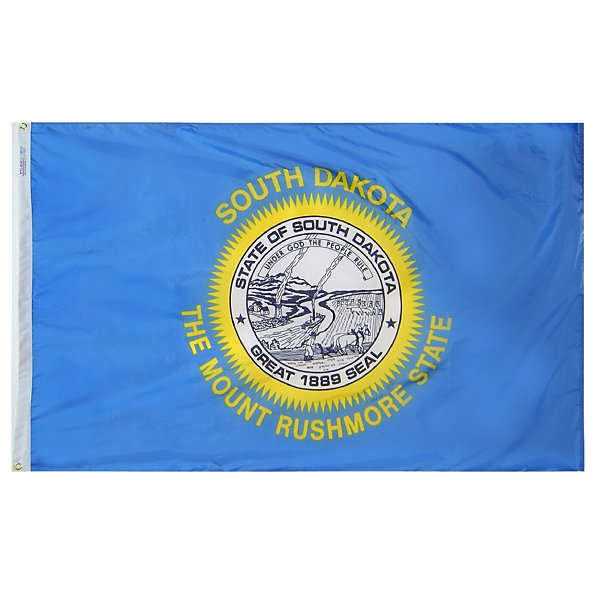 South Dakota State Flag 5x8 ft. Nylon SolarGuard Nyl-Glo 100% Made in USA to Official State Design Specifications by Annin Flagmakers.  Model 144980